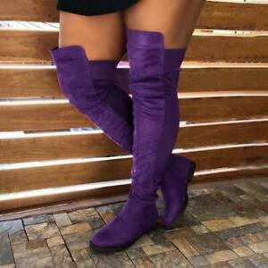 Womens Slouch Over The Knee Thigh High Boots Stretch Low Heels Faux Suede Shoes