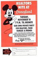 DISNEYLAND Realtors Nite SPECIAL EVENT Advertising VINTAGE 1964 Mickey Mouse
