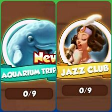 Coin Master Cards  Aquarium Trip and Jazz Club Set All White Cards ( 8 cards)