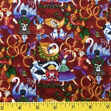 """12 DAYS OF CHRISTMAS cotton fabric burgundy The Twelve Days of Christmas 1y,22""""L"""