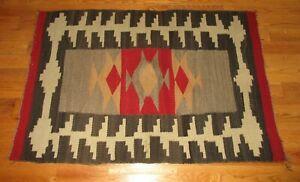 """Vintage Early Native American Indian Navajo Blanket Rug JB Moore Crystal 50""""x34"""""""