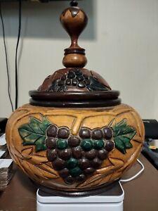 Vintage Large Hand Carved Wooden Bowl with Lid