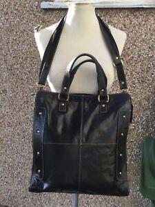 Brampton London large genuine leather work sch shoulder bag + detachable strap