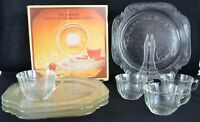 Vintage Indiana Glass Clear Recollection 8 Pc ~ Snack Set Service for 4