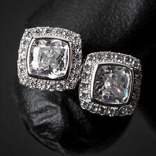 Men's  Sterling Silver Iced CZ Square Cut Elegant Hip Hop Screw Post Earrings