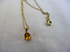 """Teardrop Citrine Pendant Checkerboard Facets 18.5"""" Chain 14K Yellow Gold Overlay"""
