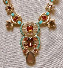 AVON  Paradise Cove Statement Necklace Bright Aqua Amber-Colored Goldtone