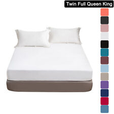 Mohap 16'' Deep Pocket Bed Fitted Sheet For Mattress Twin Full Queen King Size