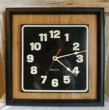 "Authentic Vintage 1960s-70s BULOVA Square Metal & Wood Wall Clock 13"" X 13"""