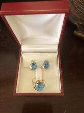 14k Gold Ring (size 6) and Earring Set - Aqua blue - Excellent condition!
