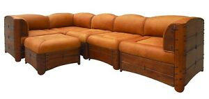 """120"""" W 5 Piece sectional sofa brown soft Italian leather exotic wood steel frame"""