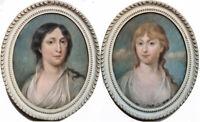 Portrait jeune femme paire de pastel néoclassique école de J. L. David 1780-1810