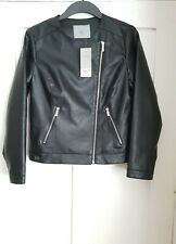 Dorothy Perkins Petite Ladies Black Faux Leather Jacket Size 12 New with Tags