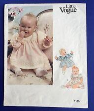 Baby Dress Sewing Pattern Little Vogue 1180 Size Newborn 13 LBS Infant Uncut VTG
