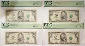 1993, 4 CONSECUTIVE Serial Number New York(2)PCGS 66PPQ & (2)PCGS67PPQ Fr 2125-B