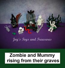 Lego Glow in the Dark Mummy & Ghost - Witch Series Zombie Skeleton + 1 Graveyard