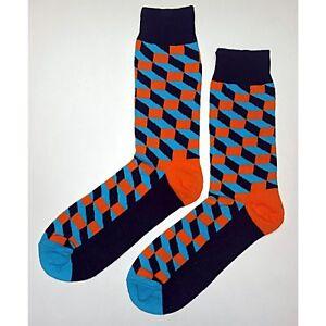NWT Blue and Orange Block Dress Socks Novelty Men 8-12 Multi-color Fun Sockfly
