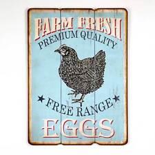 Rustic Vintage Farm Style Free Range Eggs Printed Wood Wall Sign  770036