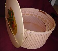 Vintage Sewing Box UNIQUE Beautiful Wood Wicker Pink Vintage decals EXCELLENT!