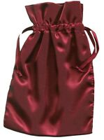 """Satin Drawstring Bags Lot of 3 Burgundy Red Wine Unlined 6"""" x 9"""""""