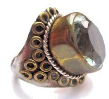 Bague bijou style vintage argent 925 chevalière cristal panier haut Taille 55 p