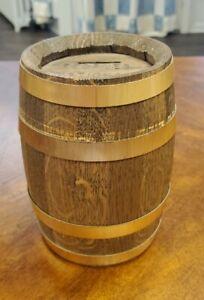Vintage Wooden Barrel Toy Piggy Bank