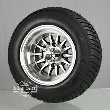 (4)Golf Cart 205/50-10 Tire on 10x7 Blk/Machined 14-Spoke Wheel W/Free Freight