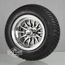 (4)Golf Cart 205/50-10 Tire on 10x7 Blk/Machined 14-Spoke Wheel W/Free Freight