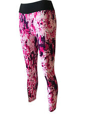 Women's Leggings G3 Pink Abstract High Waist Skinny Stretch Pants Size 14-16