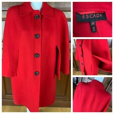 Women's ESCADA Red Winter Cape COAT Vintage 100% Wool 1960's Large Buttons
