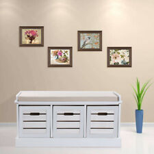 3 Drawer Crate Bench with Seat Pad Bedroom Hallway Seating Storage
