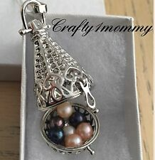 Large Tear Drop Pendant Cage Locket For Pearls Or Aromatherapy USA SELLER