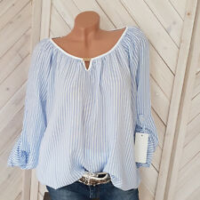 Streifen Bluse weiß-gestreift Tunika Shirt  Boho langarm Gr. 36 38 40  NEU H4