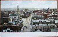Worcester, MA 1908 Postcard: Birdseye View/Downtown - Massachusetts Mass