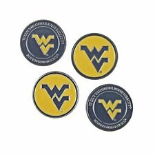 West Virginia (WV) Mountaineers Double Sided WVU Golf Ball Marker (Set of 4)