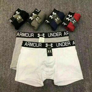 3PCS Men Under Armour Plain Boxer Shorts Underwear Classic Cotton Rich Boxers UK