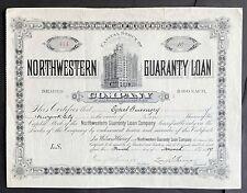 NORTHWESTERN GUARANTY LOAN Stock 1889 Minneapolis L.F. Menage Metropolitan Bldg.