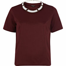 New River Island Burgundy Textured Necklace T-Shirt Top RRP £28 - Size