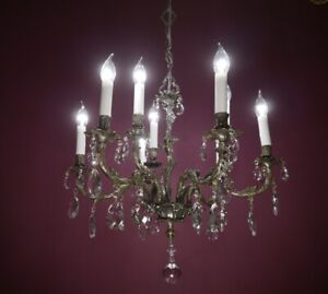 9 LIGHT CRYSTAL SILVER NICKEL CHANDELIER GLASS CEILING SMALL LAMP