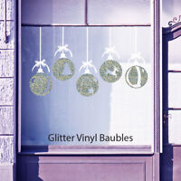 Christmas Xmas Glitter Balls Baubles Shop Window Wall Vinyl Stickers Decals B35