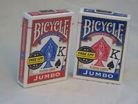 TWO PACK Bicycle Playing Cards JUMBO FACE Red & Blue Brand New