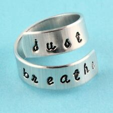 Just Breathe Ring Adjustable Twist Aluminum Ring Hand Stamped Wrap Ring