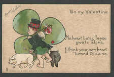 DATE 1907 PPC* VINTAGE TUCK CARD VALENTINE W/BOY PIGS & CLOVER POSTED