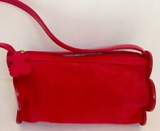 Tous Purse Red Leather And Hard Leather Flower Sides Bear Pull On Zipper