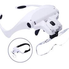 LED Head Light Jeweler Magnifier Magnifying Glass Loupe Headband Older Reading