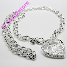 925 Sterling Silver Plated Guess Thick Chain Necklace Necklaces Free Shipping!