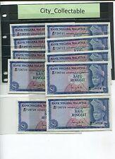 MALAYSIA 1967 $1 ISMAIL 1ST SERIES @ 70 EACH B/22 728711-20 aUNC # 002