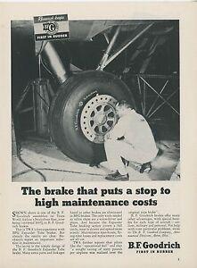 1949 B. F. Goodrich Aircraft Ad Trans World Airways Stratoliner TWA Maintenance
