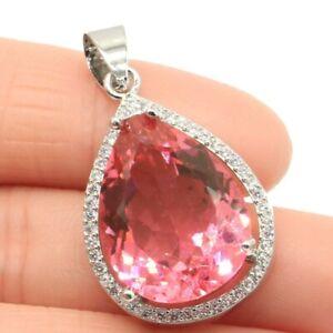 SheCrown Charming Pink Morganite Woman's Wedding Silver Pendant