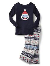 Baby Gap Boy's Festive Graphic Snow Monster Fleece Pajama Sleep Set 18-24 M NWT